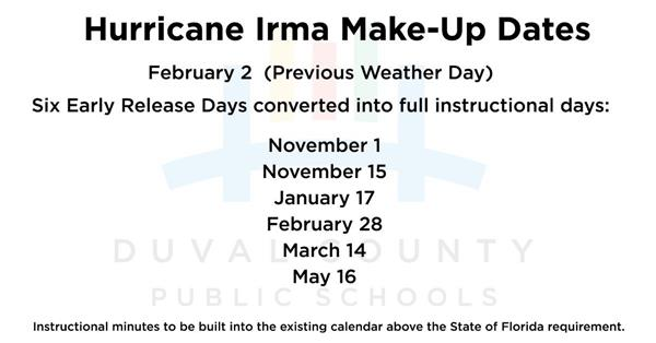 Hurricane Irma Make-Up Dates Announced