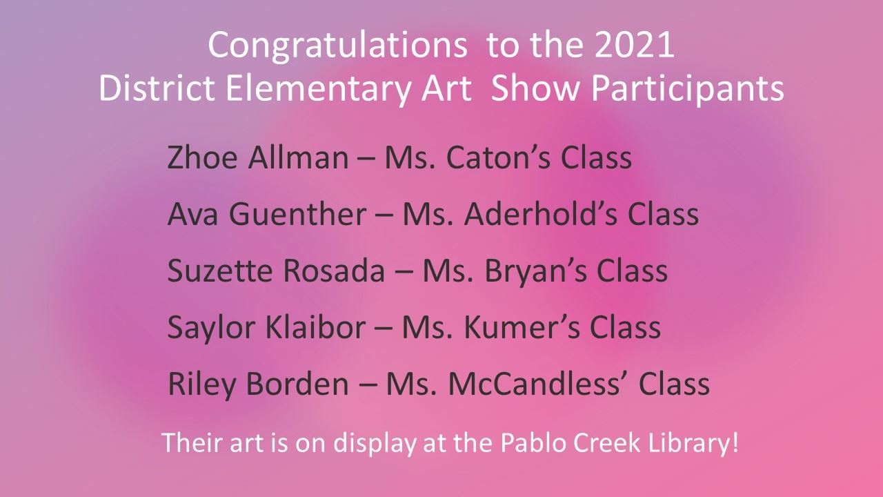 2021 District Elementary School Art Show Participants