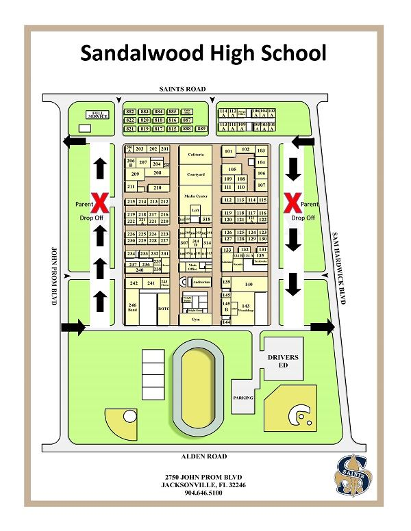 Student drop-off location map