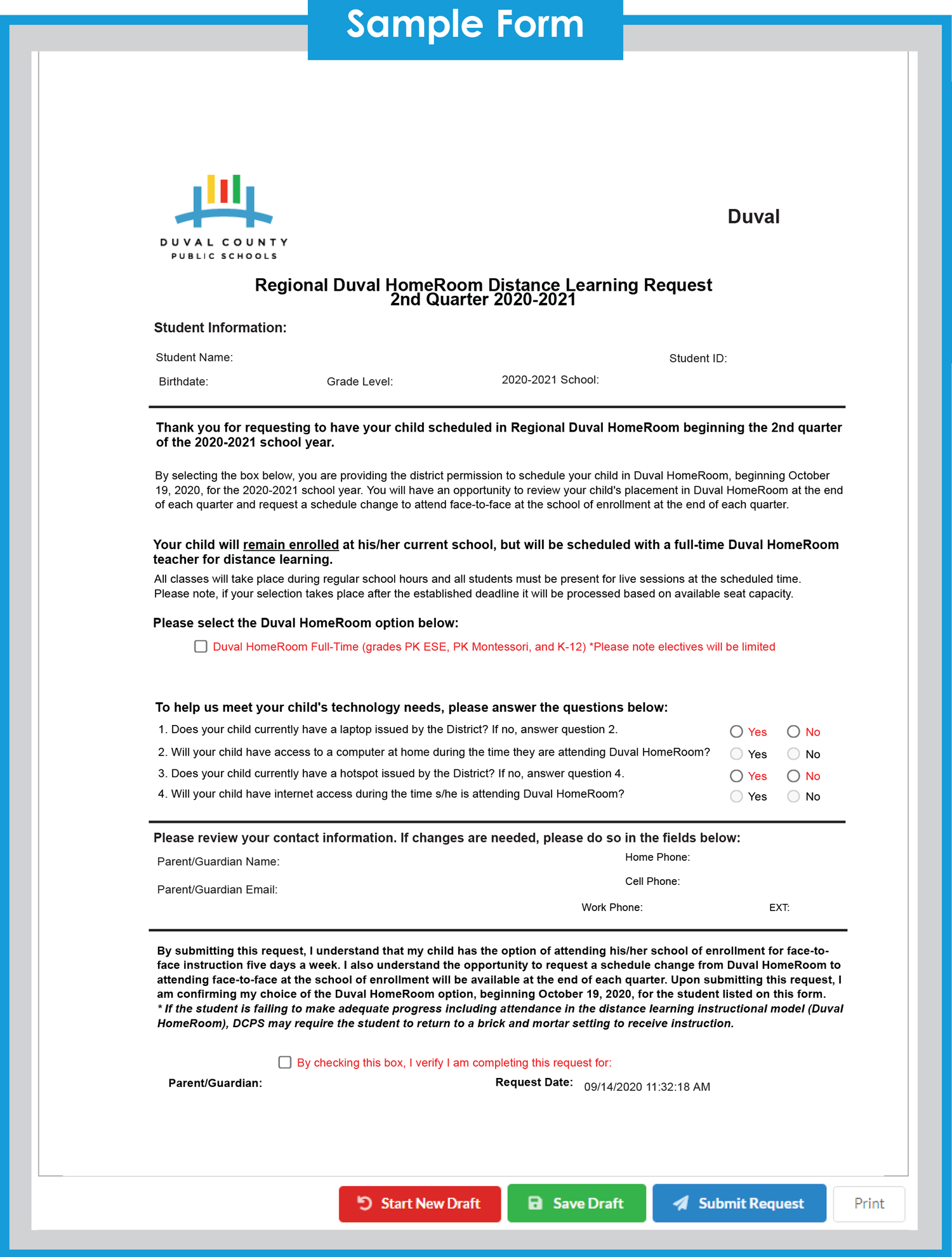 Regional Duval HomeRoom Distance Learning Request 2nd Quarter 2020-2021 Sample Form