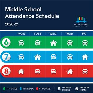 graphic showing days middle school students in class continue to text below