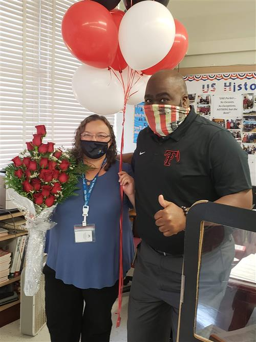 Teacher of the year Lamance and Mr. Daniels