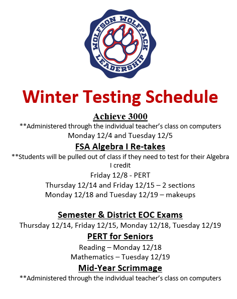 Winter Testing Schedule