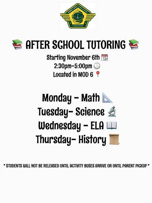 After School Tutoring Begins Nov. 6th
