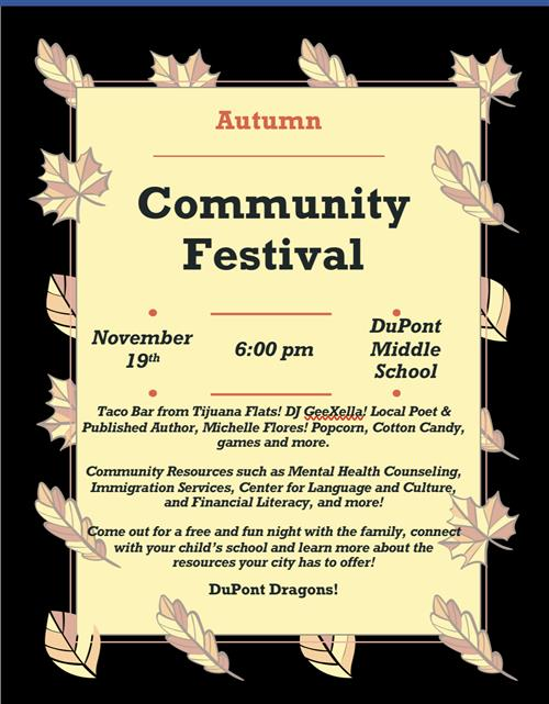 Community Festival on Tuesday, November 19th @ 6pm