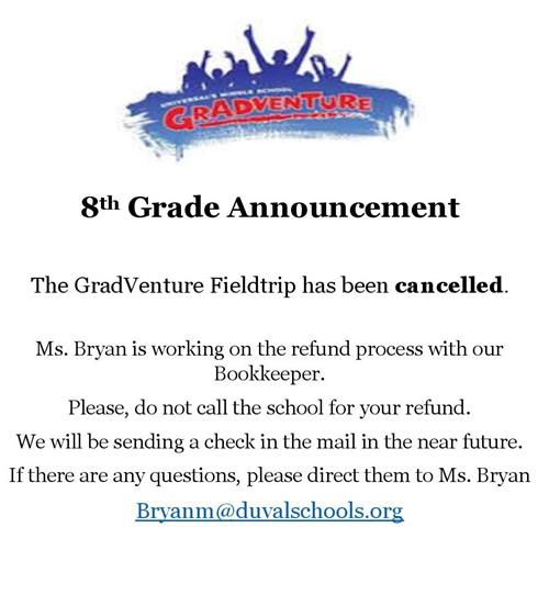 GradVenture Fieldtrip Cancelled
