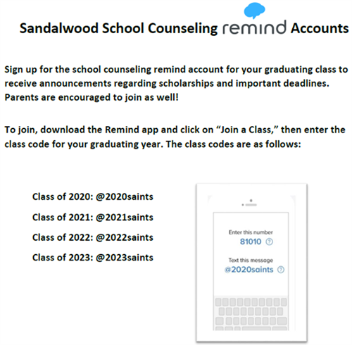 SHS School Counseling Remind Account Directions