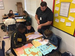 Students work on an Algebra activity
