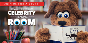 This is a graphic featuring DJ the dog mascot reading a book about a cat