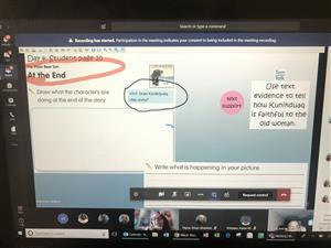 E L A screen shot from an online first grade reading class showing the need for textual evidence