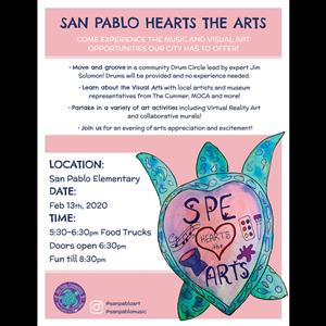 San Pablo Hearts the Arts February 13 from 5:30-8:30pm