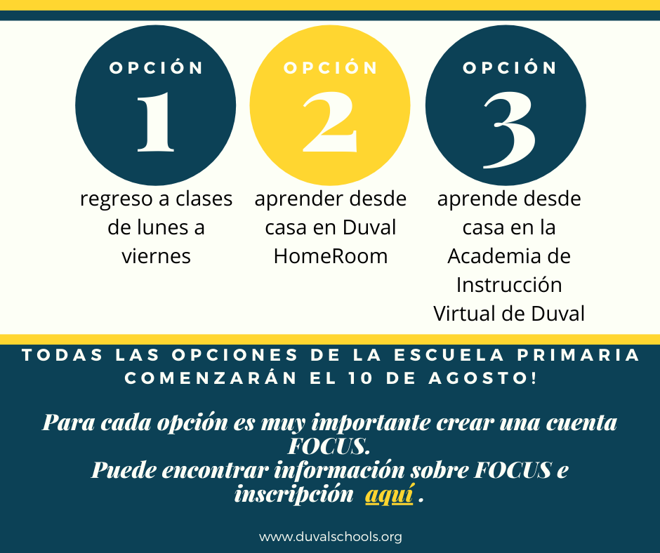 Options for back to school - Spanish