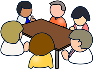 People at a table clipart