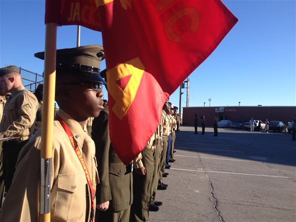 Cadets perform drill for an inspection