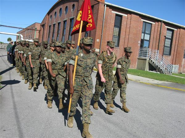 Cadets practice drill during their week at MCRD Parris Island
