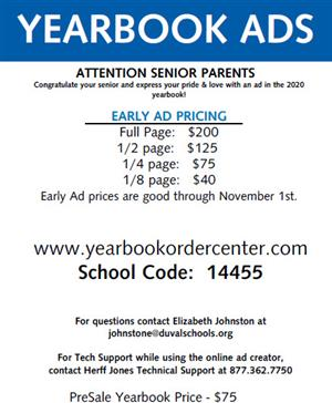 Senior Yearbook Ad Pricing Sheet