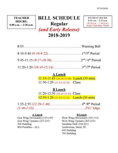 Duval County Florida School Calendar 2019 Procedures / Bell Schedules and School Hours