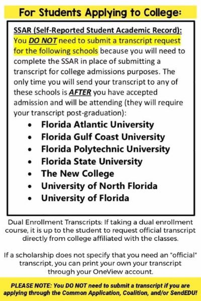 Senior University Admissions-transcripts not needed