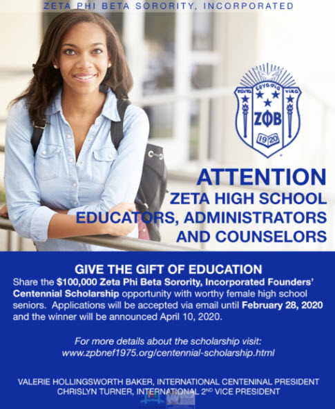 Zeta Phi Sorority Scholarship