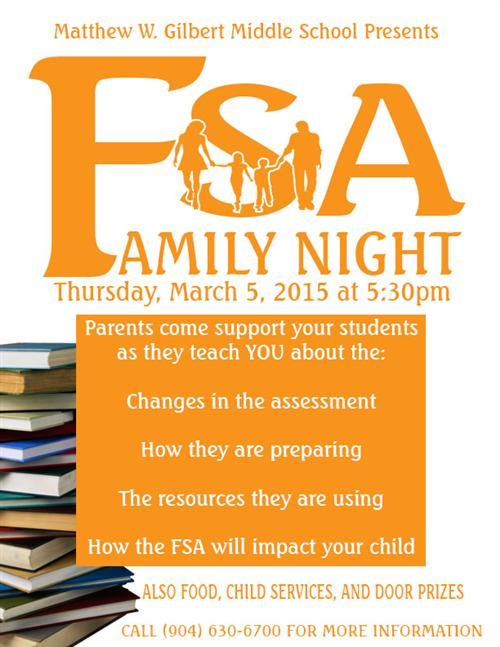 FSA Family night poster march 5 at 5:30pm