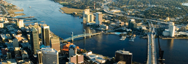 Aerial view of Downtown Jacksonville, FL